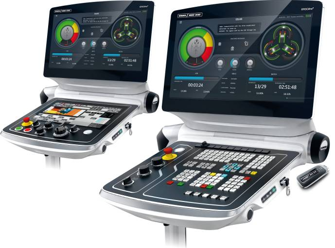 CELOS von DMG MORI vereinfacht und beschleunigt mit verschiedenen APPs den Prozess von der Idee zum fertigen Werkstück. Zum Verkaufsstart gibt es die DMG MORI CELOS mit Steuerungen von Siemens (Operate 4.5 auf Sinumerik 840D solutionline - rechts) und von Mitsubishi (MAPPS V - links).