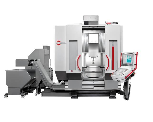 Bearbeitungszentrum C 32 U dynamic als Komplettmaschine mit NC-Schwenkrundtisch Ø 650 x 540 mm.