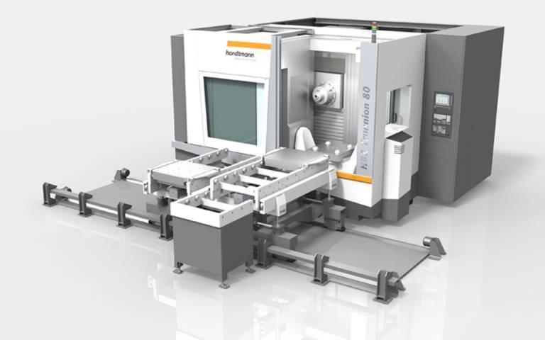 Zur zusätzlichen Erhöhung der Produktivität der HBZ Trunnion wurde eine Palettenautomation entwickelt. Das Palettenwechselsystem ist mit entsprechenden Palettenregalen durch beliebig viele Paletten erweiterbar.