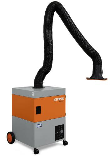 Das fahrbare Schweißrauchfiltergerät ProfiMaster eignet sich für geringe bis mittlere Rauch- und Staubmengen und ermöglicht aufgrund der dreh- und schwenkbaren Absaughaube einen Einsatzradius von 360 Grad.