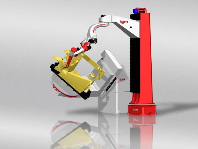 Die Kompaktanlage mit dem 8-Achs-Roboter RTi478 vereinigt auf kleinster Fläche insgesamt 13 Achsen: 8 Roboterachsen, 2 Peripherieachsen, 1 Sensorachse und 2 Manipulatorachsen.