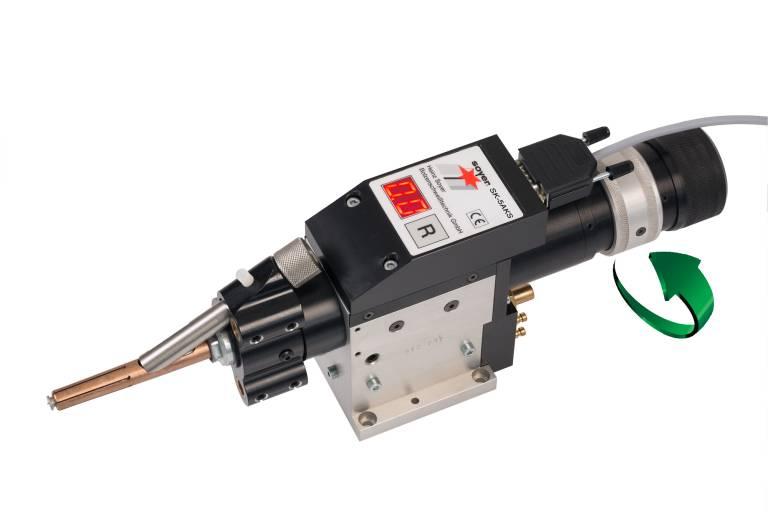 Der multifunktionale Automatikschweißkopf SK-5AKS verfügt über alle Elemente für Spalt- und Kontaktschweißen und kann mit einem einzigen Handgriff von einem auf das andere Verfahren umgeschaltet werden.