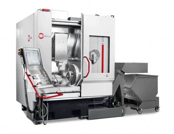 Das Bearbeitungszentrum C 12 U dynamic von Hermle als Komplettmaschine mit NC-Schwenkrundtisch Ø 320 mm.