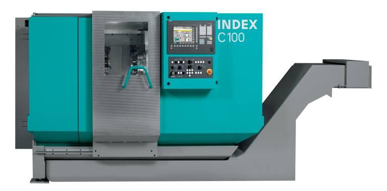 Der kompakte Produktionsdrehautomat INDEX C100 erfüllt die Bedürfnisse des Marktes, kleiner werdende Werkstücke aus schwer zerspanbaren Werkstoffen bei ständig steigenden Genauigkeitsanforderungen zu fertigen.