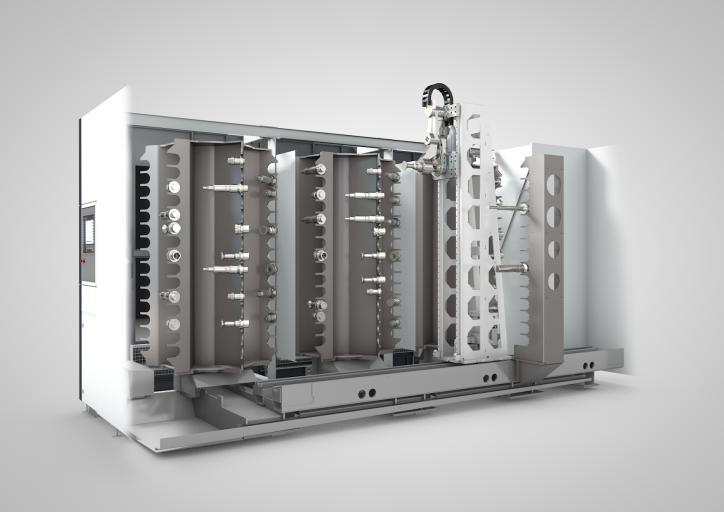 Die Werkzeuge sind entsprechend der Ausrichtung der Hauptspindel in horizontaler Lage übereinander in Kämmen gespeichert.