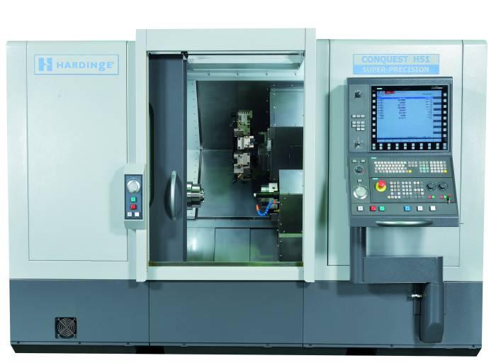 Hardinge stellte seine neueste CNC-Drehmaschine Conquest H51 SP vor. Die Hochleistungs-Drehmaschine wird u. a. mit einer Siemens 840 D Steuerung angeboten.