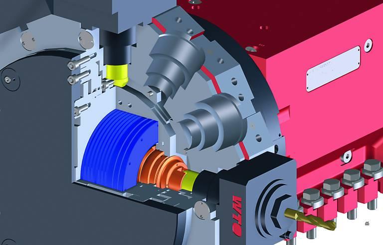 Zum wirtschaftlichen Spanen von komplexen Werkstücken mit überwiegenden Fräsanteilen ist die Option des BMT-Revolvers erste Wahl. Der wassergekühlte Direktantrieb leistet 10 kW, bis zu 12 000 U/min und bietet 30 Nm Drehmoment.