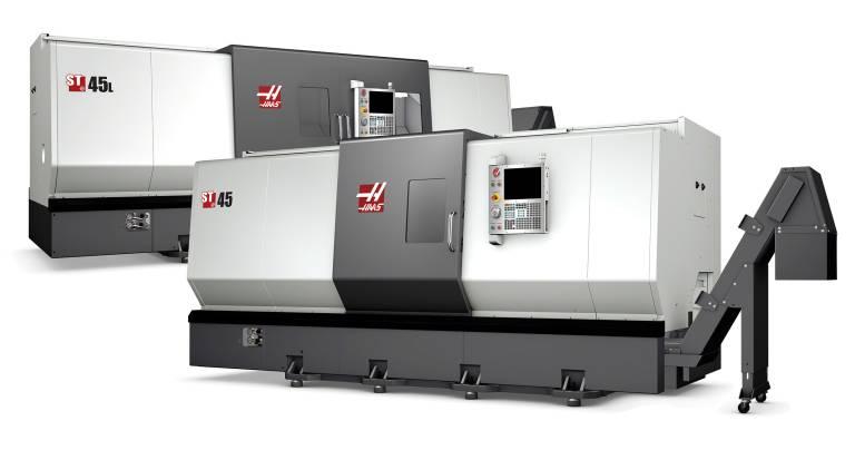 Die Modelle ST-45 und ST-45L von Haas sind Drehzentren für die Schwerlastbearbeitung mit großer Kapazität, die sich durch eine extreme Steifigkeit, große Präzision und hohe thermische Stabilität auszeichnen.