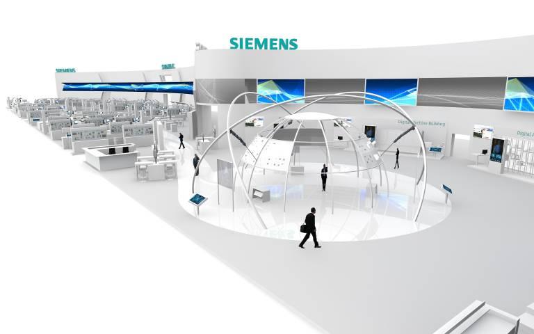"""Unter dem Motto """"On the way to Industrie 4.0 – Driving the Digital Enterprise"""" bietet der Siemens-Stand in Halle 9 einen Überblick über das umfassende Portfolio für Industriekunden."""