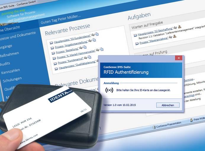 Noch schnellere Anmeldung in die ConSense-Suite: Einloggen per RFID-Authentifizierung.