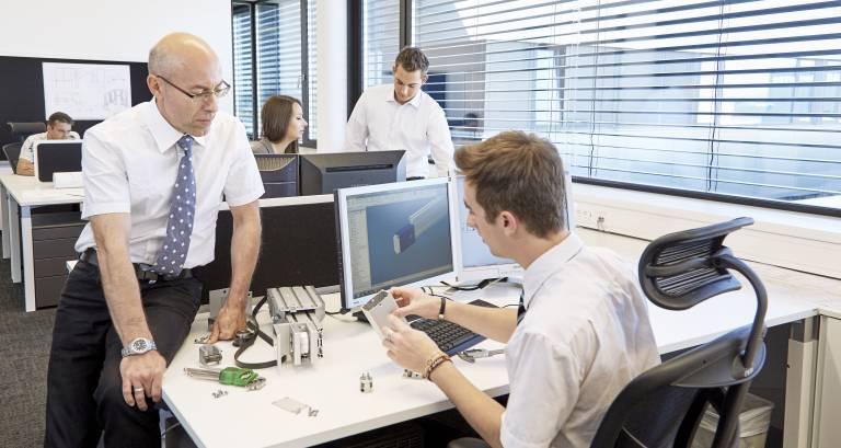Das neue Konstruktionsbüro im TIP Leonding vereint langjährige Erfahrung und frische Ideen für beste Kundenbetreuung.