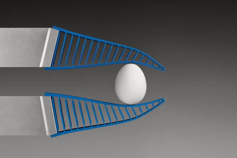 Der adaptive Greifer DHAS spielt seine Stärken dort aus, wo es darum geht, empfindliche Objekte mit unregelmäßiger Geometrie zu greifen.