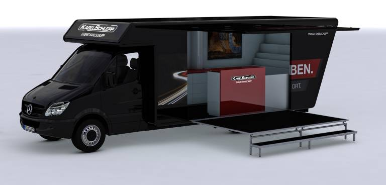 Mit einem eigens dafür konzipierten Fahrzeug geht Kabelschlepp auf Roadshow und kommt direkt zu den Kunden.