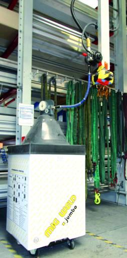 Mig Weld Jumbo-Fass mit 140 kg Aluminiumdrahtelektrode 1,6 mm Durchmesser, Umlenkrolle, Rolliner und Druckluftdrahtantrieb. Von hier sind es 50 m bis zum eigentlichen Drahtantrieb nach Längs-, Quer-, und Höhenfahrwerk.