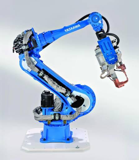 Mit dem konsequent schlank konstruierten Motoman Industrieroboter MS80W reagiert Yaskawa auf das branchenweite Downsizing der Punktschweißzangen. (Bild: Yaskawa)