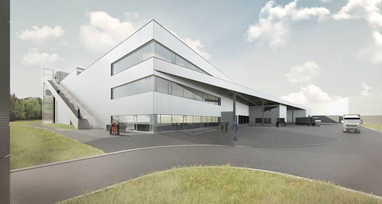 Das neue 13.000 m² große und 18 m hohe Gebäude wird über modernste Lager- und Kommissioniertechnik verfügen. (Bild: Trumpf).