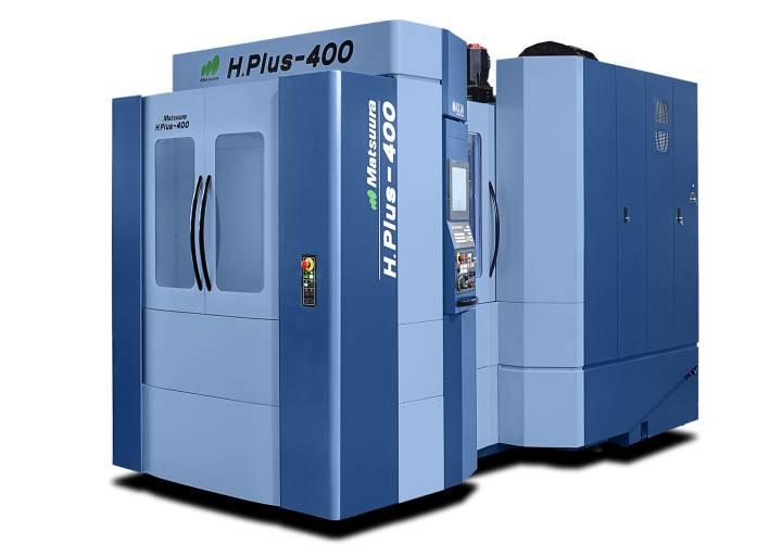 Das horizontale Bearbeitungszentrum H.Plus-400 (im Bild) verfügt über eine Palette 400 x 400 mm, das Horizontal-Bearbeitungszentrum H.Plus-500 hat eine von 500 x 500 mm.