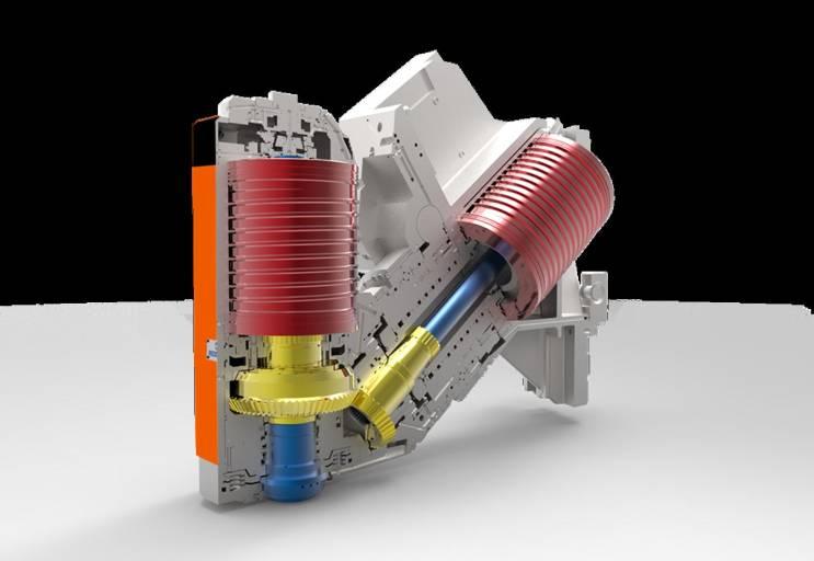 Bei der patentierten Double Drive Technologie (DDT) werden zwei unabhängige Motoren, über ein hydraulisches Koppelgetriebe geschaltet. Programm- oder drehzahlabhängig wählt die Maschine automatisch den entsprechenden Spindelmotor.