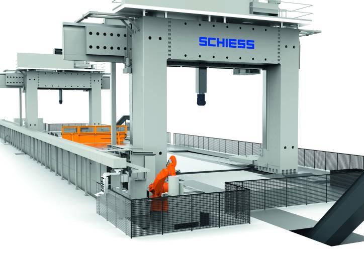Der Werkzeugwechsel ist bei großen Werkzeugmaschinen ein wesentlicher Faktor im Produktionsalltag. Ziel der gemeinsamen Entwicklung von Schiess und Kuka war es deshalb, den Werkzeugwechsel vollautomatisch durch einen Roboter durchführen zu lassen.