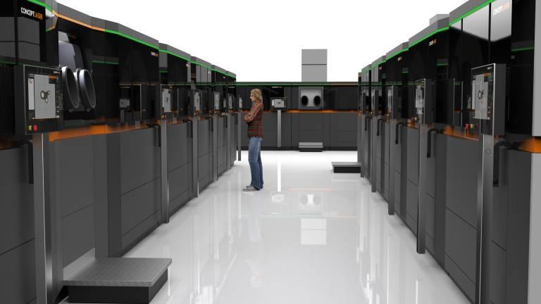 """""""AM Factory of Tomorrow"""": Smarte und """"robuste"""" Produktion mit AM-Modulen von Concept Laser auf industriellem Niveau mit minimalem Footprint. (Alle Bilder: Concept Laser)."""