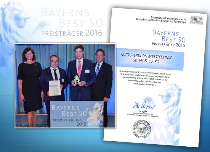 Micro-Epsilon wurde mit BAYERNS BEST 50 ausgezeichnet.