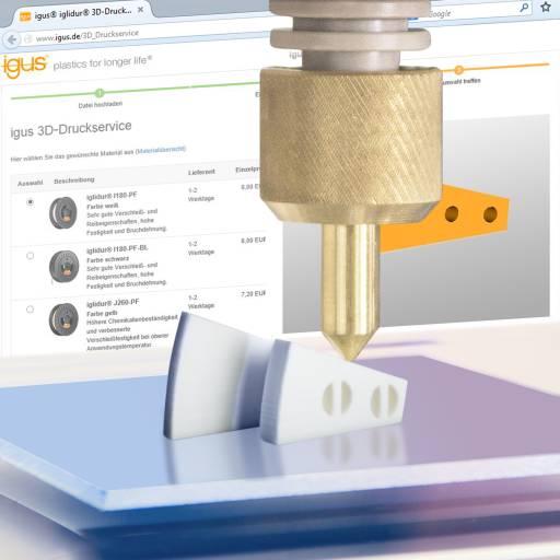 Durch den neuen 3D-Druckservice von igus wird die Bestellung von verschleißfesten Bauteilen in nur drei einfachen Schritten möglich.