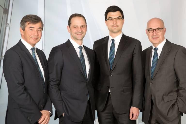 Die aktuelle Geschäftsführung der ENGEL Unternehmensgruppe, von links nach rechts: Dr. Peter Neumann, Dr. Christoph Steger, Dr. Stefan Engleder, Dipl-Oec. Klaus Siegmund.
