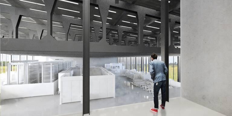 """In einem """"Control Center"""" bekommen die Besucher Echtzeit-Informationen zu Materialfluss, Maschinen-Performance und anderen Prozesskennzahlen."""
