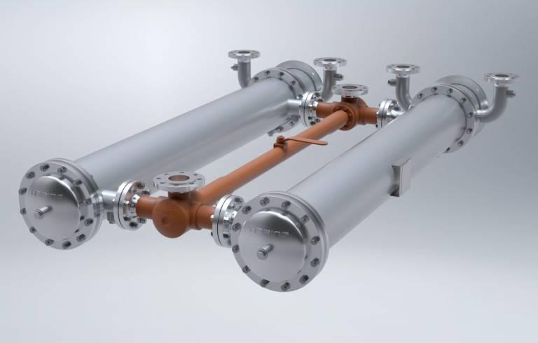 Ein Wärmetauscher der Hering AG mit diversen Rohr-Flansch-Verbindungen. (Foto: Hering AG).