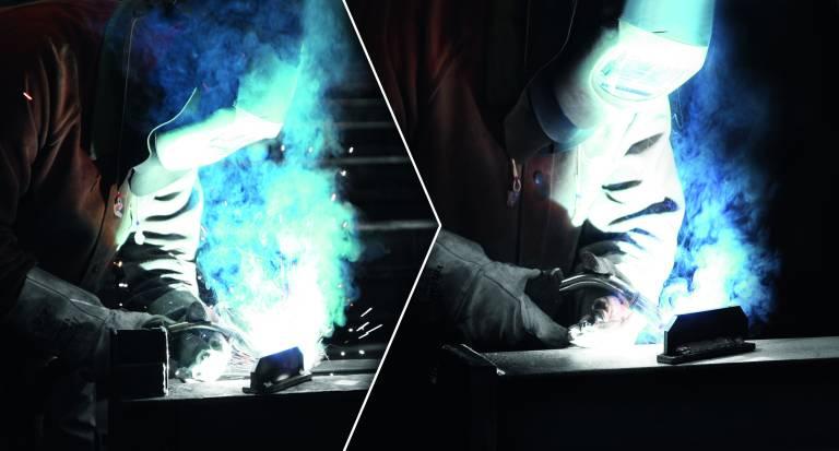 Beim Arbeiten mit dem FOCUS.PULS (rechts) entsteht im Vergleich zu konventionellen Schweißverfahren laut RWTH Aachen ca. 70 % weniger Schweißrauch.