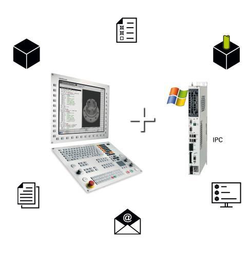 Ohne Einfluss auf die CNC-Bearbeitung und die Maschinenleistung: die Kombination der TNC 640 mit einem Industrie-PC wie dem Heidenhain IPC 6641.