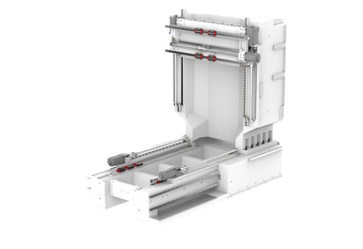Um den hohen Anforderungen im Maschinenbau gerecht zu werden, bestehen Maschinenständer und Maschinenbett aus Hydropol®, einem Verbundswerkstoff aus Spezialbeton und Stahl.