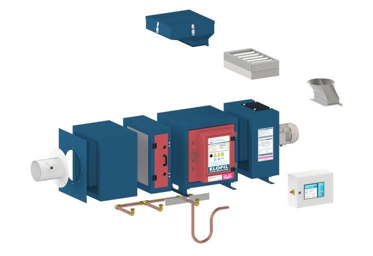Der ELOFIL Elektrofilter mit Vorfilter, Ionisator, Kollektor und Nachfilter. Alle Elemente sind wiederverwendbar und einfach zu reinigen.