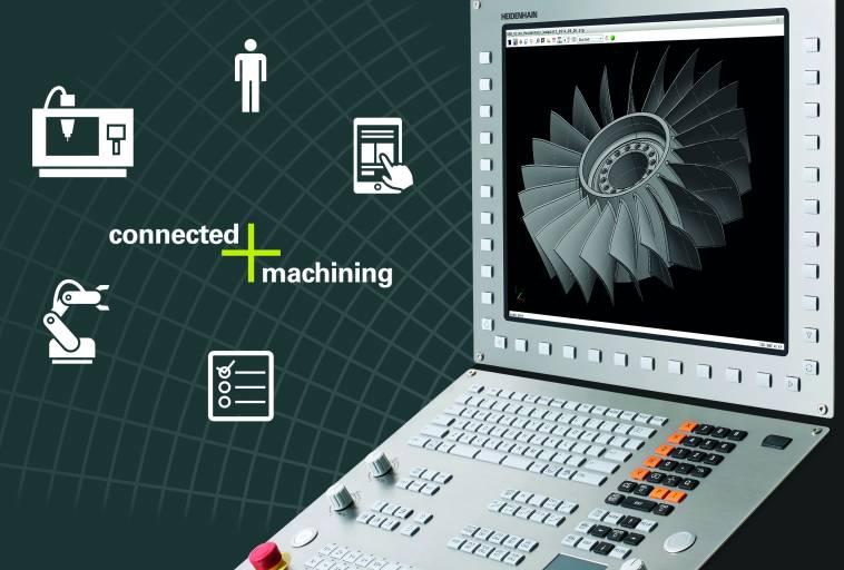 Connected Machining fasst Funktionen der TNC-Steuerungen zusammen, die die Vernetzung der Steuerung in der Werkstatt mit allen produktionsbegleitenden Bereichen im Unternehmen unterstützen.