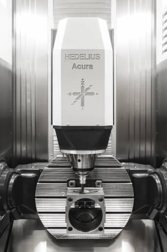 Die Dreh-Schwenktischeinheit erlaubt in Verbindung mit den drehmomentstarken Celox Motorspindeln (bis 35 kW Antriebsleistung und bis 183 Nm Drehmoment) eine Leistungszerspanung auch in Problemwerkstoffen.