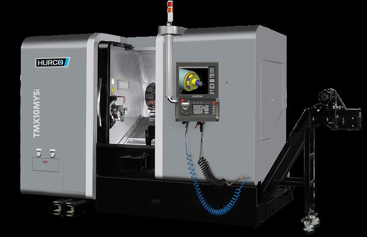 Die Drehmaschine TMX 10MYi von Hurco eignet sich besonders für Werkstückbearbeitungen ausgehend von Stangenmaterial und Futterteilebearbeitungen gesägter Werkstücke.