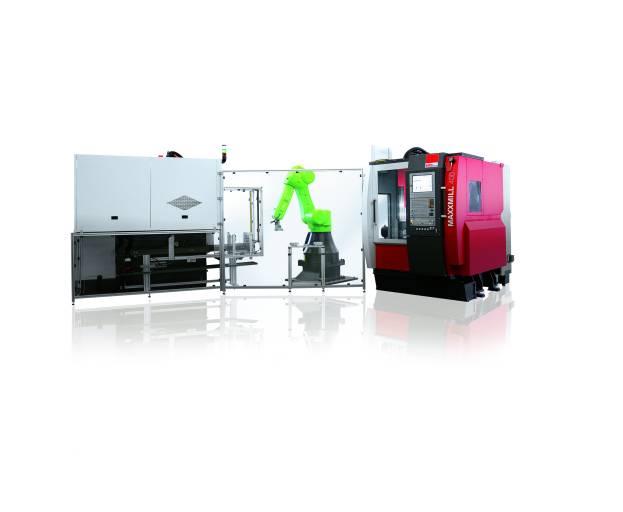 Die automatisierte Fertigungslösung zur Komplettbearbeitung beinhaltet folgende Einheiten: das Fräszentrum Maxxmill 400 mit Heidenhain TNC 620 Steuerung (im Bild rechts), das Vertikaldrehzentrum VT260 mit Fanuc 31i Steuerung (im Bild links) und eine Automation mit kollaborierendem Roboter Fanuc CR-35iA.