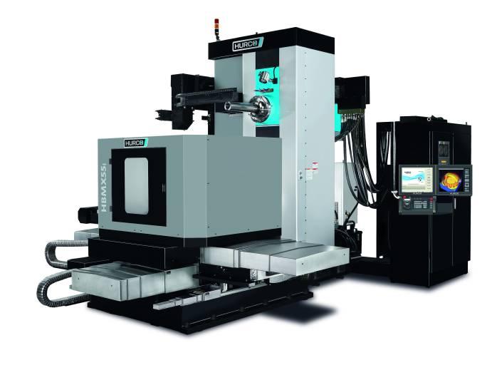 Das Bohrwerk HBMX 55 i von Hurco für die Bearbeitung schwerer Teile bis zu vier Tonnen bietet Verfahrwege von (X/Y/Z) 1.400 x 1.390 x 1.100 mm.