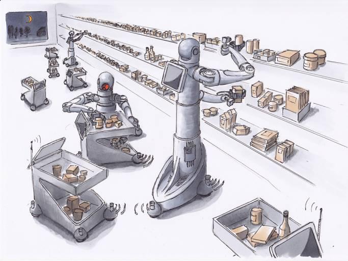 Futuristische Vision von Robotern in Supermärkten. (Quelle: Refills)