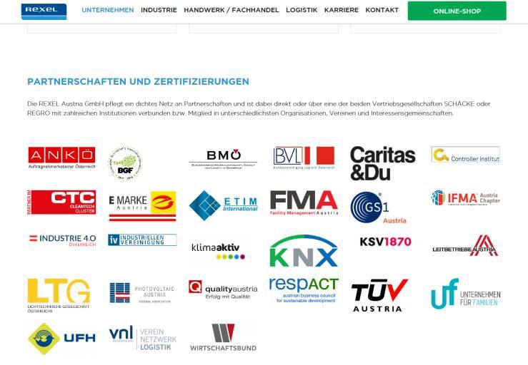 Rexel Austria kann auf eine beachtliche Anzahl von Mitgliedschaften und Auszeichnungen verweisen.