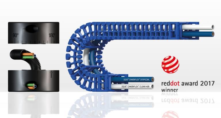 Das igus CRM und die Hygienic Design e-kette von igus haben in diesem Jahr den Red Dot Product Design Award erhalten. (Bild: igus)