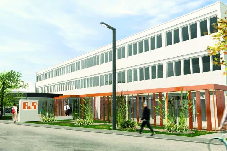 Im F&E-Standort Salzburg wird B&R nach dem Ausbau 80 Entwickler in den Bereichen Robotik, Steuerungstechnik, Regelungstechnik und industrielle Kommunikation beschäftigen. Grafik: Kaufmann & Partner Architekten