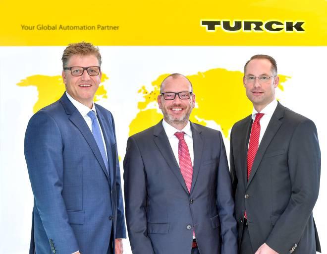 V.l.: Christian Pauli, Guido Frohnhaus und Christian Wolf bilden ab März 2018 die Geschäftsführung der Turck Holding.