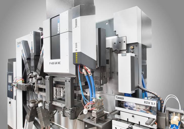 Bihler-Hochleistungs-Schweißsteuerung B 20K mit Servo-Stanzbiegeautomat GRM-NC und Quickchange-Kontaktschweißmodul. (Bild: Bihler)