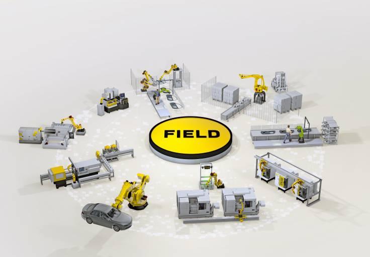 Das FIELD-System ist eine offene Plattform, die sich auf die simultane Benutzung verschiedener Industrial IoT-Applikationen innerhalb einer Produktionsstätte, wie beispielsweise Maschinen, Roboter, CNC Steuerungen und Sensoren, konzentriert.