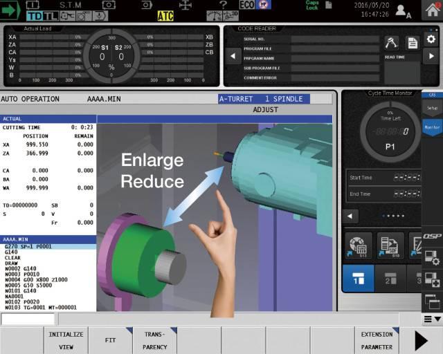 Die Okuma OSP-P300A Steuerung erlaubt eine flüssige Zweifinger-Bildschirmeingabe, die auch mit Handschuhen funktioniert.