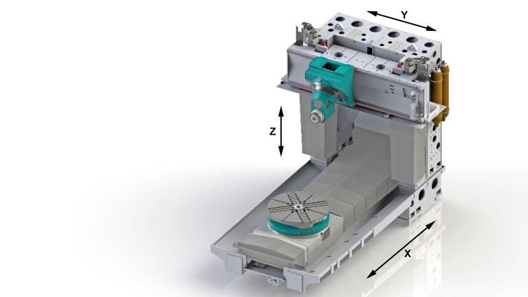 Das neue Vertikal-Bearbeitungszentrum SPEEDMAT VM-T von Pama mit integriertem Karusselldrehtisch.