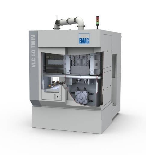 Weltpremiere der Drehmaschine VLC 50 TWIN für Getriebekomponenten bis 75 mm Durchmesser auf der EMO. (Bilder: Emag)