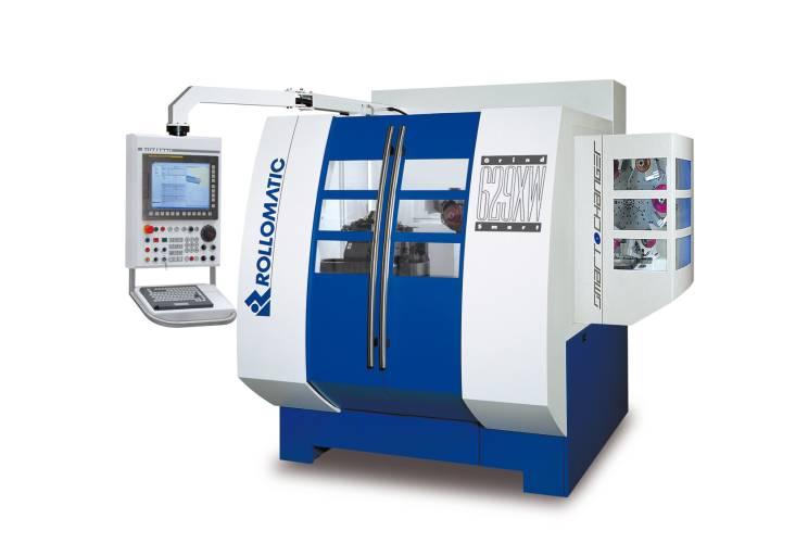 Die sechsachsigen Schleifmaschinen von Rollomatic wie die GrindSmart629®XS und 629XW gelten als zuverlässige Arbeitstiere für besonders präzise Standard- und Sonderwerkzeuge. Die Erweiterung der GrindSmart®629XW um zusätzliche Scheibenpakete im Wechsler vereinfacht das Prozessmanagement und verkürzt die Nebenzeiten. (Bilder: Rollomatic SA)