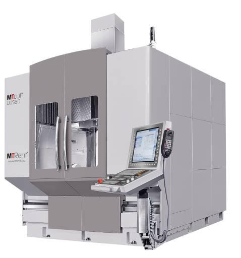 5-Achs-Universalbearbeitungszentrum MTcut UDS80-5A: ein Direktantrieb für die Drehachse und zwei Direktantriebe für die Schwenkachse.